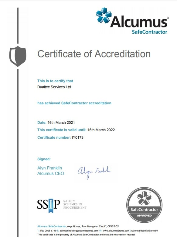 DualTEC Services Limited SafeContractor Certificate 2021-2022